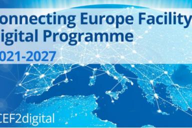 "Das Bild zeigt des Aktionsflyer mit dem Titel ""Connecting Europe Facility - Digitale Programme 2021 - 2027""."