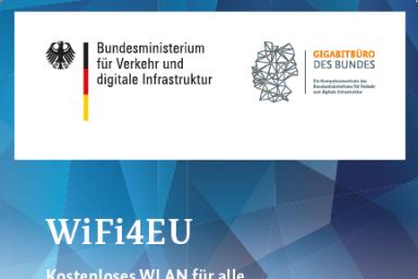 """Das Bild zeigt das Cover des Flyers """"WiFi4EU Kostenloses WLAN für alle"""" des Gigabitbüros."""