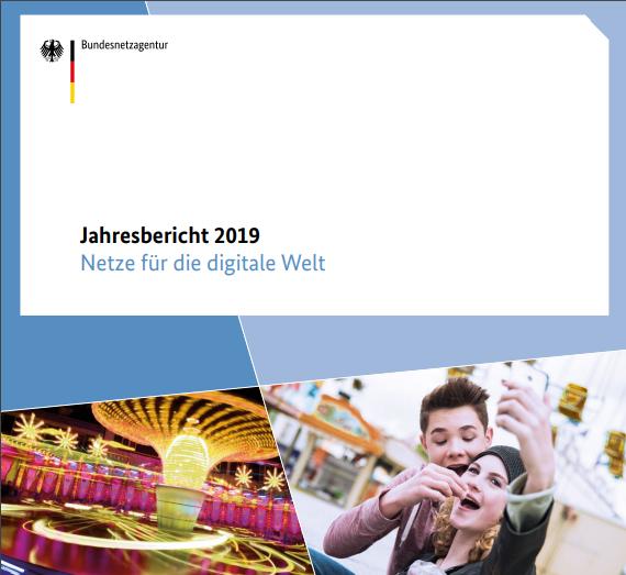 """Das Bild zeigt das Cover des Jahresberichtes 2019 des Bundesnetzagentur mit dem Titel """"Netze für die digitale Welt""""."""