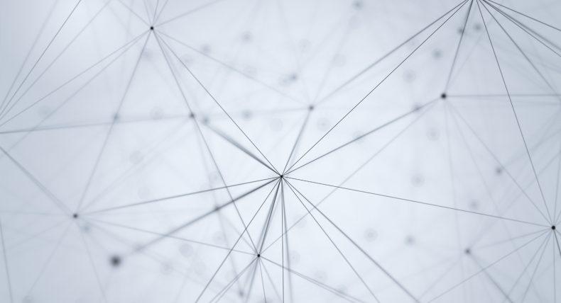 Das Bild zeigt stilistisch dargestellte Moleküle, die in Form von grauen Punkten dargestellt sind. Dies soll die Vernetzung symbolisieren.