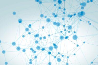 Das Bild zeigt stilistisch dargestellte Moleküle, die in Form von blauen Punkten dargestellt sind. Dies soll die Vernetzung symbolisieren.