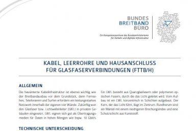 """Flyer """"Kabel, Leerrohre und Hausanschluss für Glasfaserverbindungen (FTTB/H)"""""""
